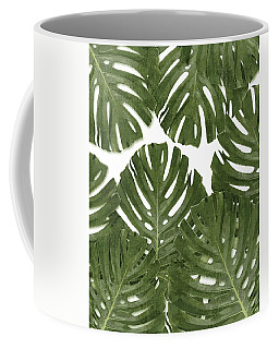 Monstera Leaf Pattern - Green - Tropical, Botanical Design - Modern, Minimal Decor Coffee Mug