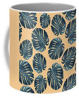 Monstera Leaf Pattern - Tropical Leaf Pattern - Blue, Peach - Tropical, Botanical - Modern, Minimal Coffee Mug
