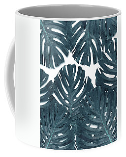 Monstera Leaf Pattern - Tropical Leaf Pattern - Blue - Tropical, Botanical - Modern, Minimal Decor Coffee Mug