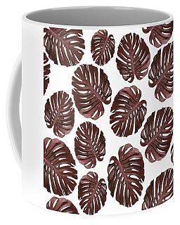 Monstera Leaf Pattern - Tropical Leaf Pattern - Brown, Red - Tropical, Botanical - Modern, Minimal Coffee Mug