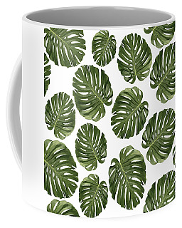 Monstera Leaf Pattern - Tropical Leaf Pattern - Green - Tropical, Botanical - Modern, Minimal - 1 Coffee Mug