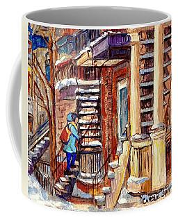 Montreal Staircase Scene Girl With Blue Jacket Canadian Winter Steps C Spandau Plateau To Verdun     Coffee Mug