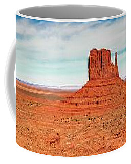 Coffee Mug featuring the photograph Monument Valley Panorama by Andy Crawford