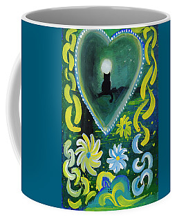 Coffee Mug featuring the painting Moon Cat Ornament by Dobrotsvet Art