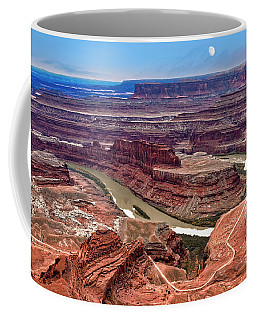 Coffee Mug featuring the photograph Moon Over Deadhorse Point by Andy Crawford