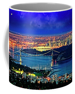 Coffee Mug featuring the photograph Moon Over Vancouver by Scott Kemper