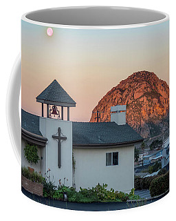 Coffee Mug featuring the photograph Moonset Above Morro Rock by Mike Long