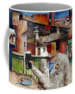 Coffee Mug featuring the painting More Thro The Window On The World by Val Byrne