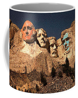 Mount Rushmore Red And Blue Drawing Coffee Mug