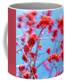 Mountain Ash Tree With Berries In Very Strong Wind Coffee Mug