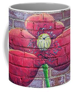 Mural Of Flower On Brick Wall Coffee Mug