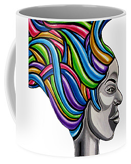 Colorful Abstract Black Woman Face Hair Painting Artwork - African Goddess Coffee Mug