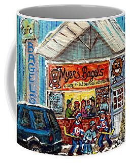 Myer's Bagel Cafe Burlington Vermont Bakery Painting Hockey Art Winter Scene C Spandau Resto Artist Coffee Mug