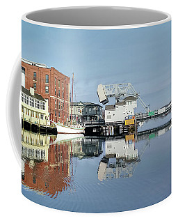 Mystic River Drawbridge With Sailing Ship Coffee Mug
