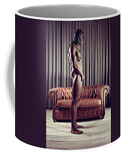 Naked Man With Mask Standing In Front Of A Sofa Coffee Mug
