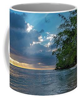 Negril Beach Sunburst At Sunset Coffee Mug