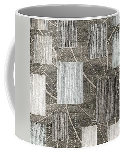 Neutral Leaf Print Squares Cream Coffee Mug