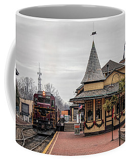 Coffee Mug featuring the photograph New Hope Train Station At Christmas by Kristia Adams