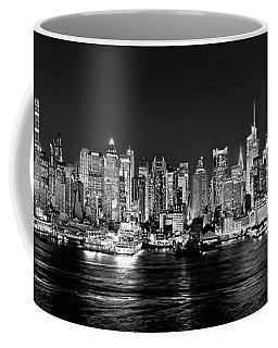 New York City Nyc Skyline Midtown Manhattan At Night Black And White Coffee Mug