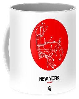 New York Red Subway Map Coffee Mug