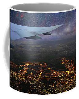 Night Flight Over City Lights Coffee Mug