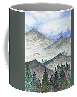 Coffee Mug featuring the painting November Mountains by Betsy Hackett