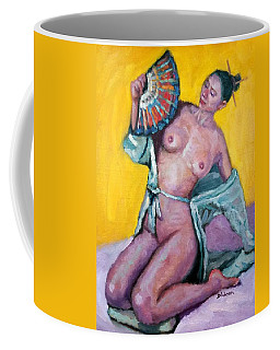 Nude Girl With Fan Coffee Mug