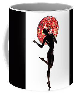 Nude Woman With Red Parasol Coffee Mug