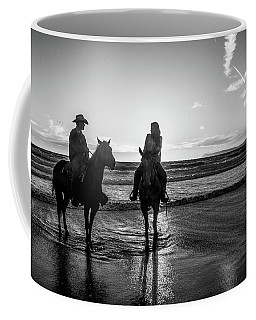 Coffee Mug featuring the photograph Ocean Sunset On Horseback by Mike Long