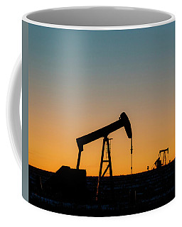 Coffee Mug featuring the photograph Oil Pumps After Sunset 01 by Rob Graham