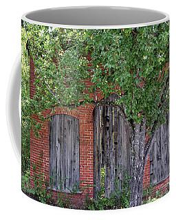Coffee Mug featuring the photograph Old Brick Building Behind Tree by Randy Bayne