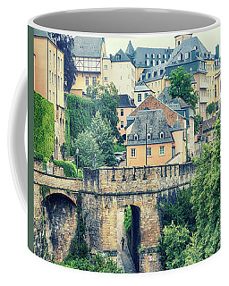 Coffee Mug featuring the photograph old city Luxembourg from above by Ariadna De Raadt