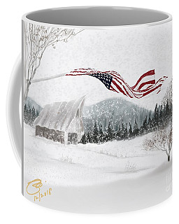 Old Glory In The Snow Coffee Mug