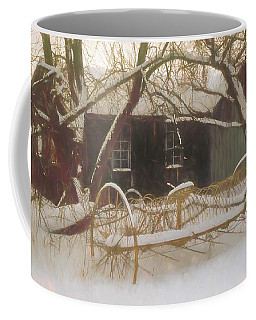 Old Hay Rake Setting In The New England Winter. Coffee Mug
