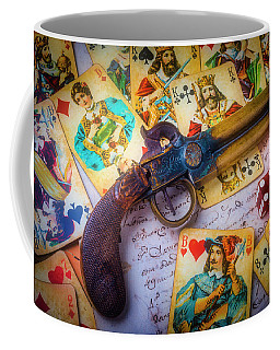 Old Pistole And Playing Cards Coffee Mug