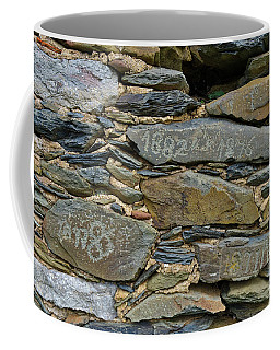 Old Schist Wall With Several Dates From 19th Century. Portugal Coffee Mug