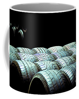 Old Tires And Racing Wheels Stacked In The Sun Coffee Mug