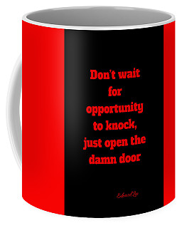 Open The Door     Red On Black Coffee Mug