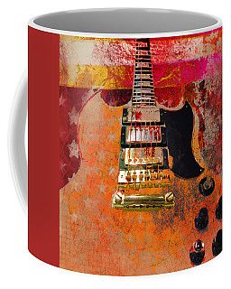 Coffee Mug featuring the digital art Orange Electric Guitar And American Flag by Guitar Wacky