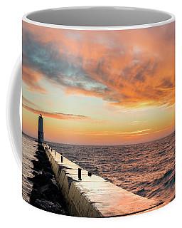 Orange Skies Over Frankfort Lighthouse Coffee Mug