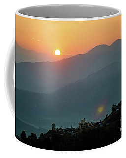 Orange Sunrise Above Mountain In Valley Himalayas Mountains Coffee Mug
