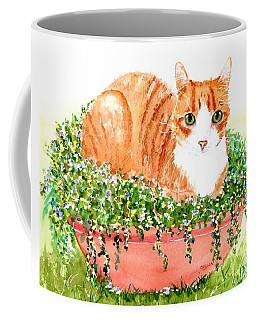 Orange Tabby Cat In Flower Pot Coffee Mug
