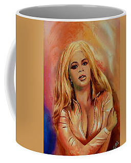 Original Fine Art Multimedia Painting Beyonce In Gold Coffee Mug