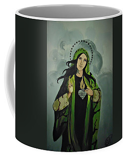 Coffee Mug featuring the painting Our Lady Of Veteran Suicide by MB Dallocchio