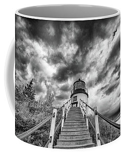 Coffee Mug featuring the photograph Owls Head Lighthouse In Black And White by Rick Berk