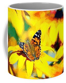 Painted Lady Butterfly Van Gogh Coffee Mug