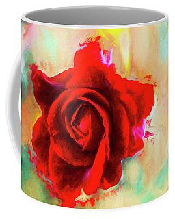Painted Rose On Colorful Stucco Coffee Mug