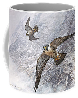 Pair Of Peregrine Falcons In Flight Coffee Mug