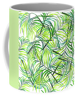 Palm Leaf Pattern 1 - Tropical Leaf Pattern - Green, White - Tropical, Botanical Pattern Design Coffee Mug