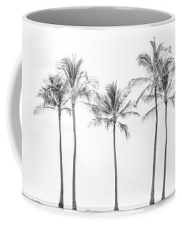 Palm Trees On The Beach In Black And White Coffee Mug